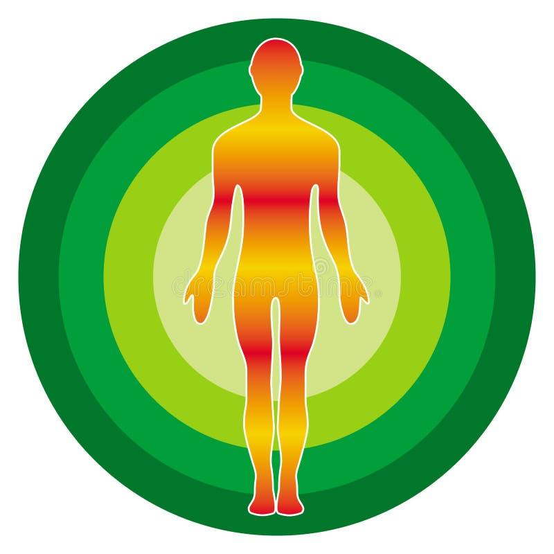 Konturn av en gul orange man mot bakgrunden av ett färgrikt geen cirkeln Mänsklig bild, tecken, symbol, logo royaltyfri illustrationer