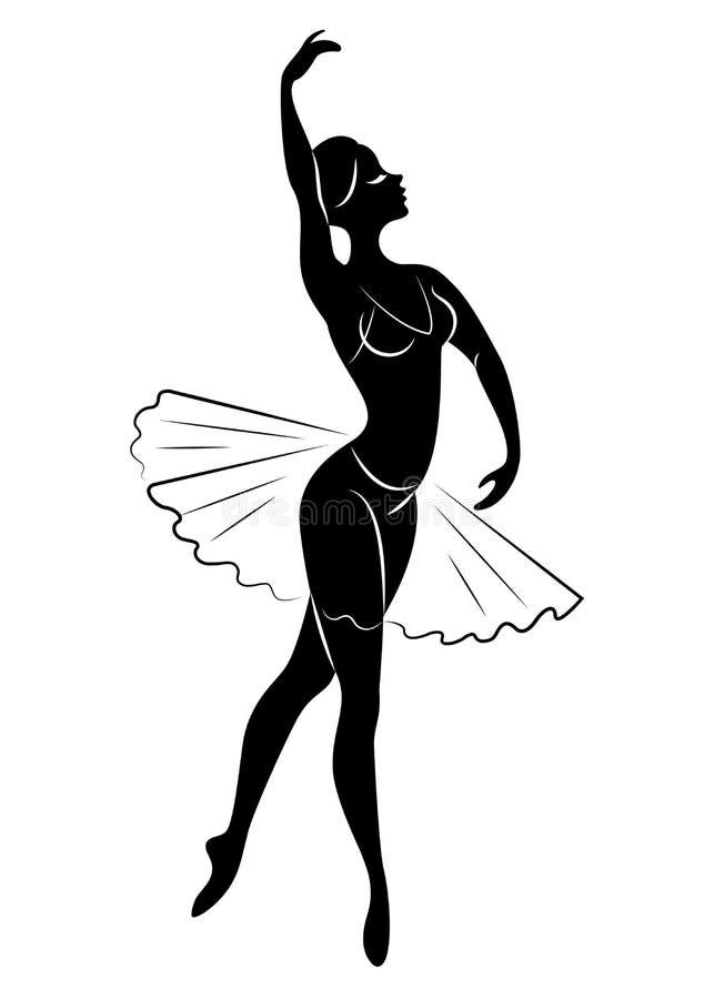 Konturn av en gullig dam, dansar hon balett Flickan har ett h?rligt diagram Kvinnaballerina ocks? vektor f?r coreldrawillustratio stock illustrationer