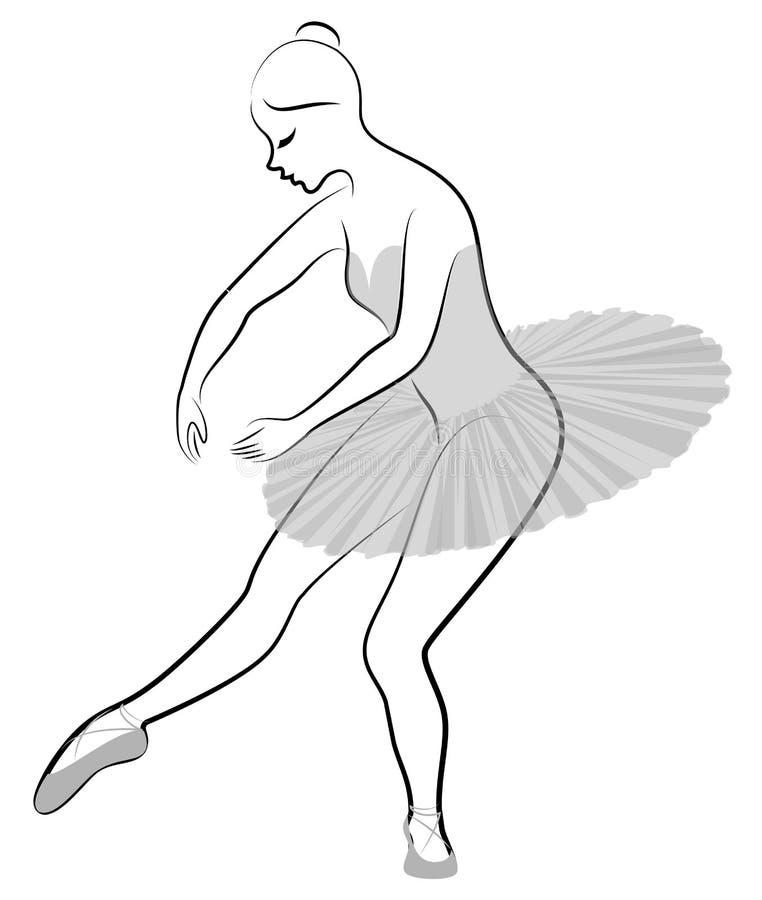 Konturn av en gullig dam, dansar hon balett Flickan har ett h?rligt diagram Kvinnan ?r en ung slank och sexig balett stock illustrationer