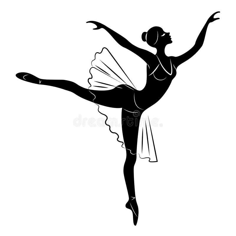 Konturn av en gullig dam, dansar hon Flickan har ett h?rligt diagram Kvinnan ?r en ung sexig och slank ballerina vektor royaltyfri illustrationer