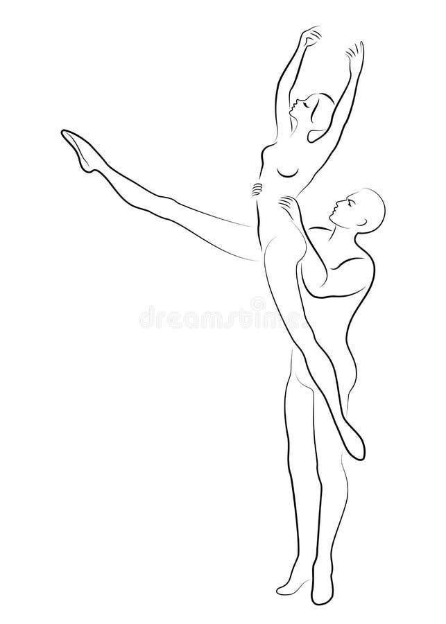 Konturn av en gullig dam och ungdom, dansar de balett Kvinnan och mannen har härliga spensliga diagram Flickaballerina och stock illustrationer