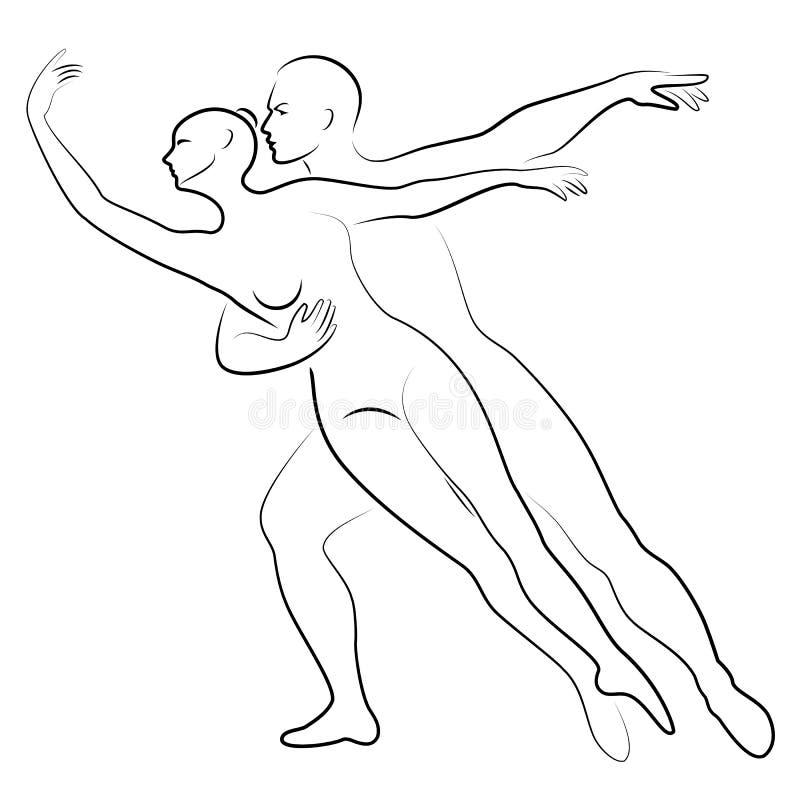 Konturn av en gullig dam och ungdom, dansar de balett Kvinnan och mannen har h?rliga spensliga diagram Flickaballerina och stock illustrationer