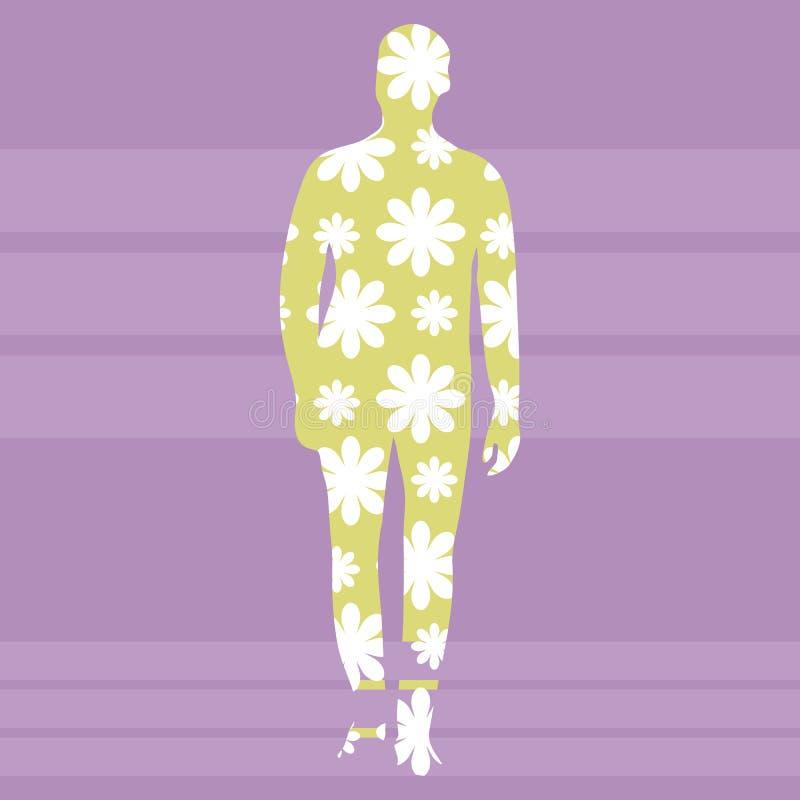 Konturn av en man av gul färg med en modell av vita blommor på en bakgrund av purpurfärgade band kvadrerar vektorbakgrund stock illustrationer