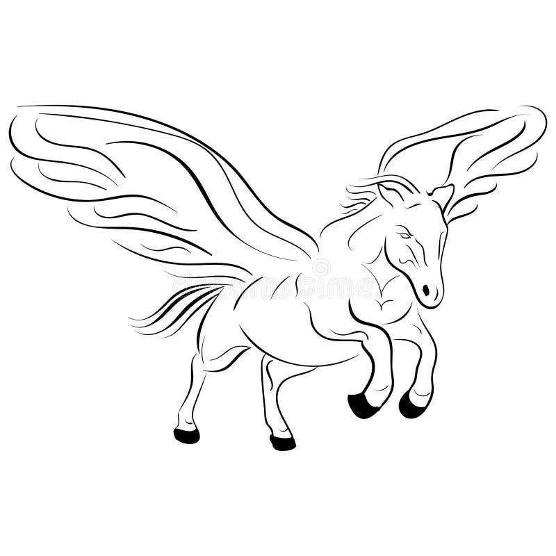 Konturn av en springpegasus vektor skissar vektor illustrationer
