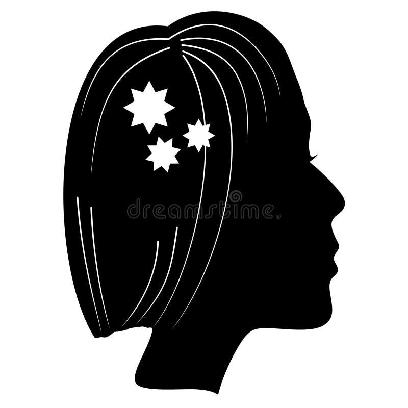 Konturn av ett damhuvud med den klassiska frisyrfrisyren som dekoreras med stjärnan, formar Monokrom teckning, svart kvinna royaltyfri illustrationer