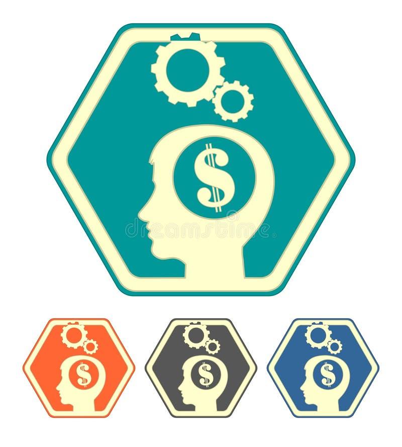 Konturn av ett mänskligt huvud med dollaruppsättningen royaltyfri illustrationer