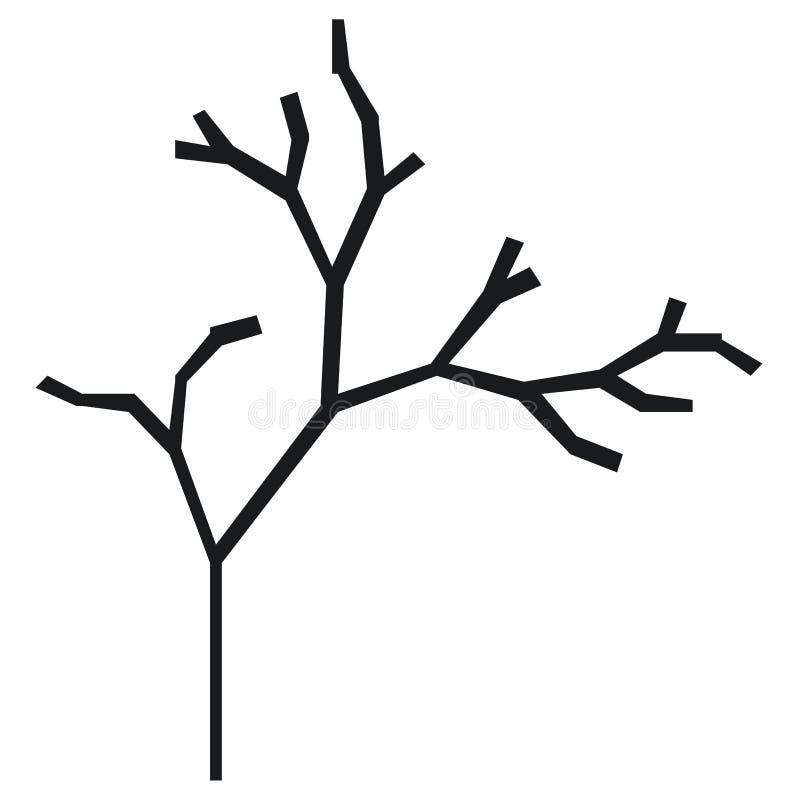 Konturn av ett träd med en stam och filialer utan sidor Svartvit vektorsymbol stock illustrationer