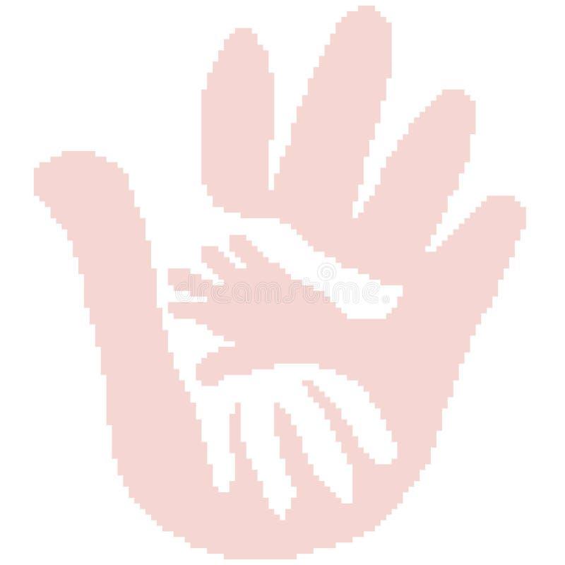 Konturn av ett tryck av tre gömma i handflatan är det moderfadern och barnet som målas av fyrkanter, PIXEL stock illustrationer