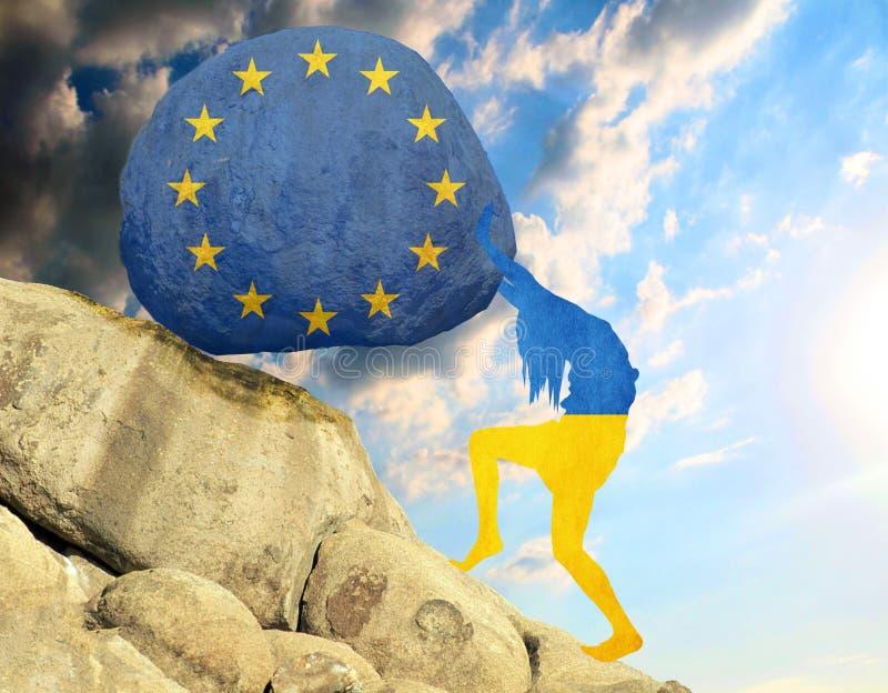 Konturn av flaggan av Ukraina i form av en flicka lyfter en sten i berget i form av en kontur av flaggan vektor illustrationer