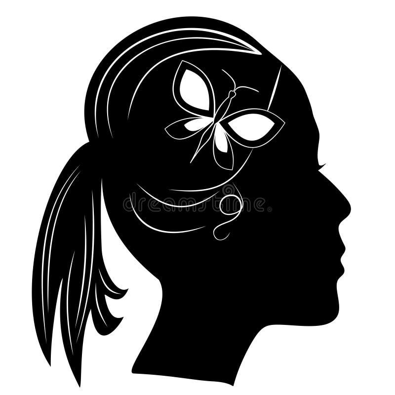 Konturn av flickor head med hästsvansfrisyren Svart kvinnaprofil med fjärilen i hår Motiv för skönhetsmedeletikett royaltyfri illustrationer