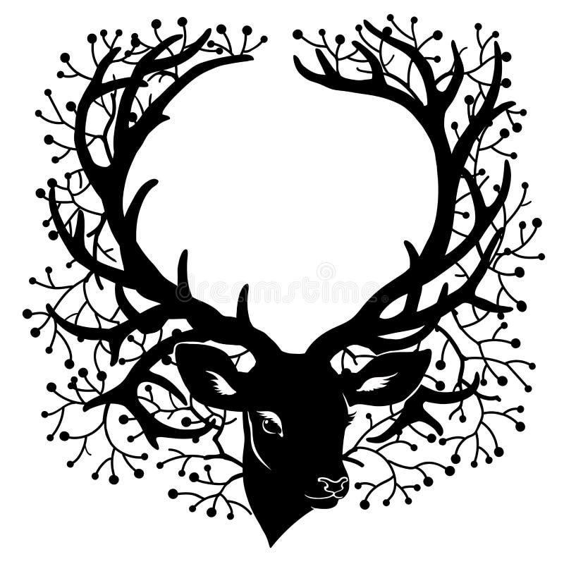 Konturn av hjortar head med bärbrances på stora horn vektor illustrationer