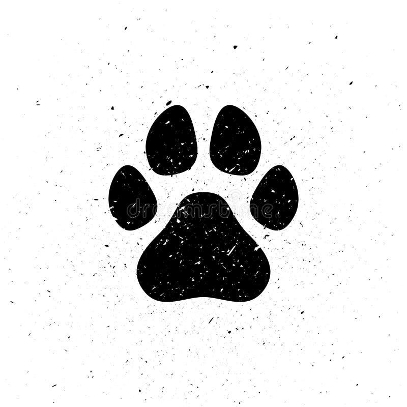 Konturn av hund` s tafsar i grungestil Smutsa ner slingan trä för song för grouseförälskelsenatur wild Små partiklar, damm stock illustrationer