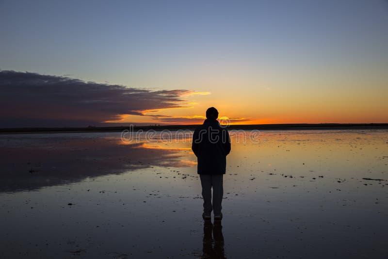 Konturn av mannen som stirrar in i solnedgång, reflekterade i den grunda sjön arkivbild
