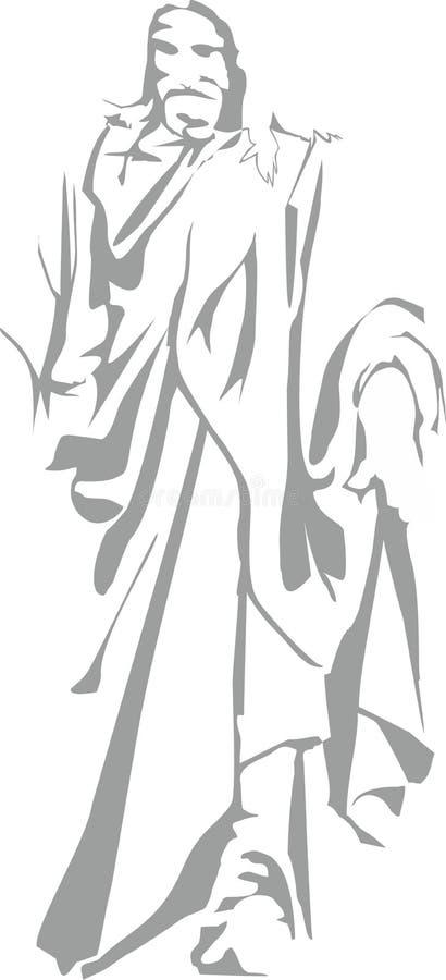 Konturn av munken stock illustrationer