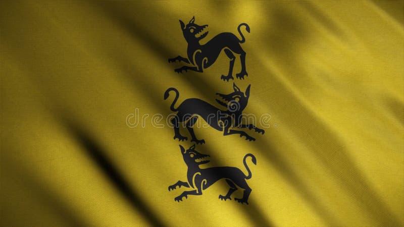 Konturn av tre ilskna hundkapplöpning som vertikalt ordnades, visade på bakgrund av framkallning av den guld- flaggan djur emblem stock illustrationer