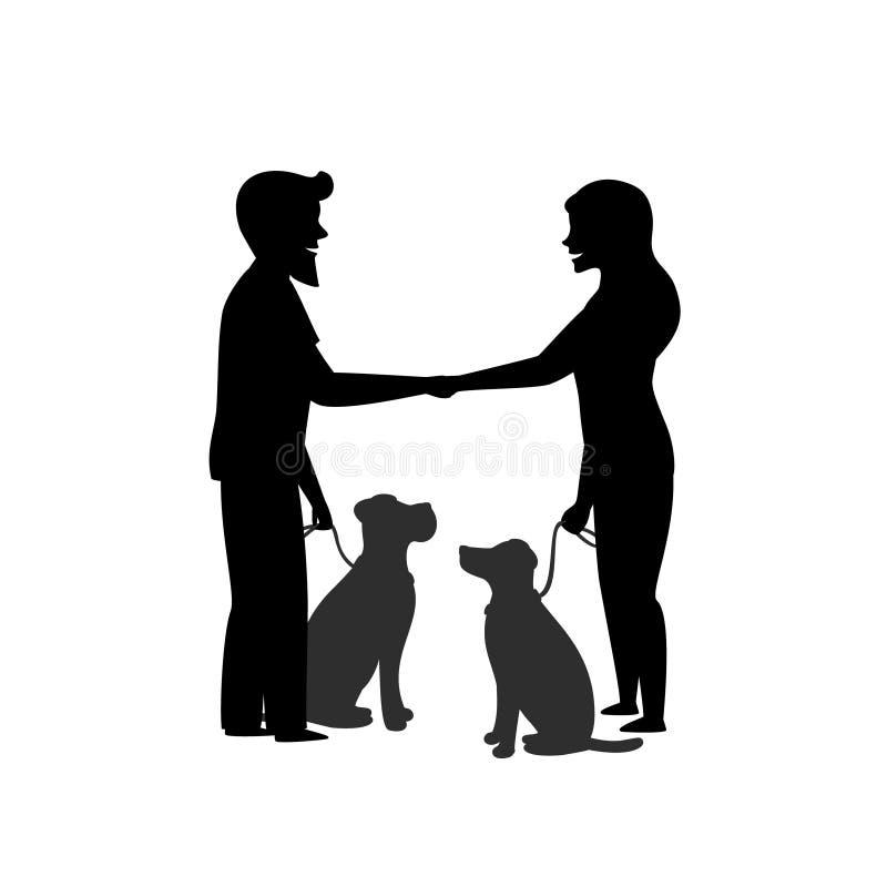 Konturn av två hundägare som utbildar deras husdjur för att sitta tätt, uppför, när den möter hälsning stock illustrationer