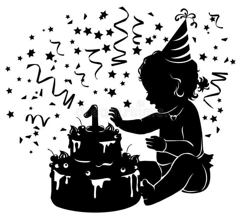 Konturn behandla som ett barn flickan med födelsedagkakan med stearinljusdiagram 1 stock illustrationer