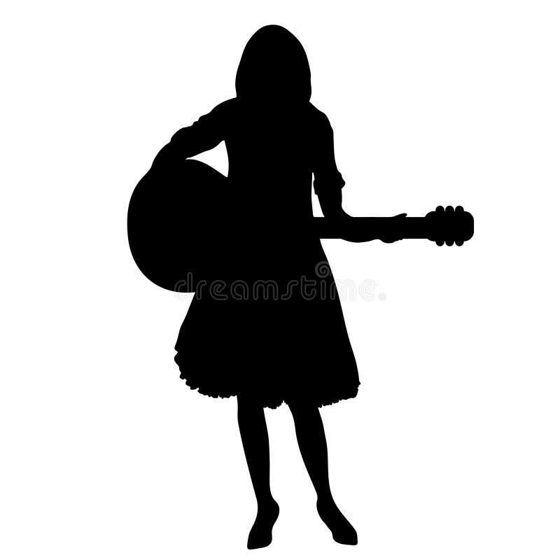 Konturn för flickagitarrspelaren, konturteckning, skisserar den svartvita ståenden, vektorillustration Kvinna i frodig kjol med a vektor illustrationer