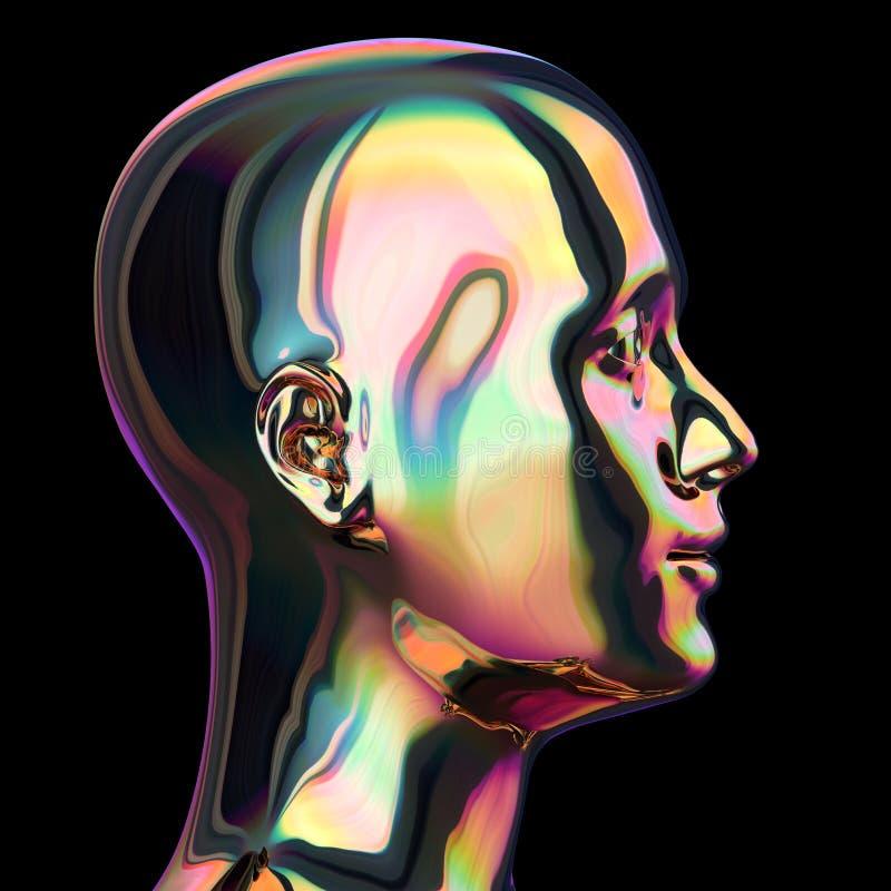 Konturn för huvudjärnmannen stiliserade metalliska färgrika reflexioner vektor illustrationer