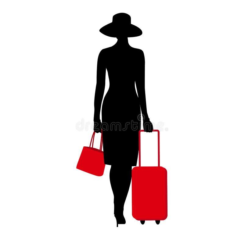 Konturn för unga kvinnor som går med den röda resväskan Stilfull chic dam i en hatt Tur för loppbagagesemester stock illustrationer