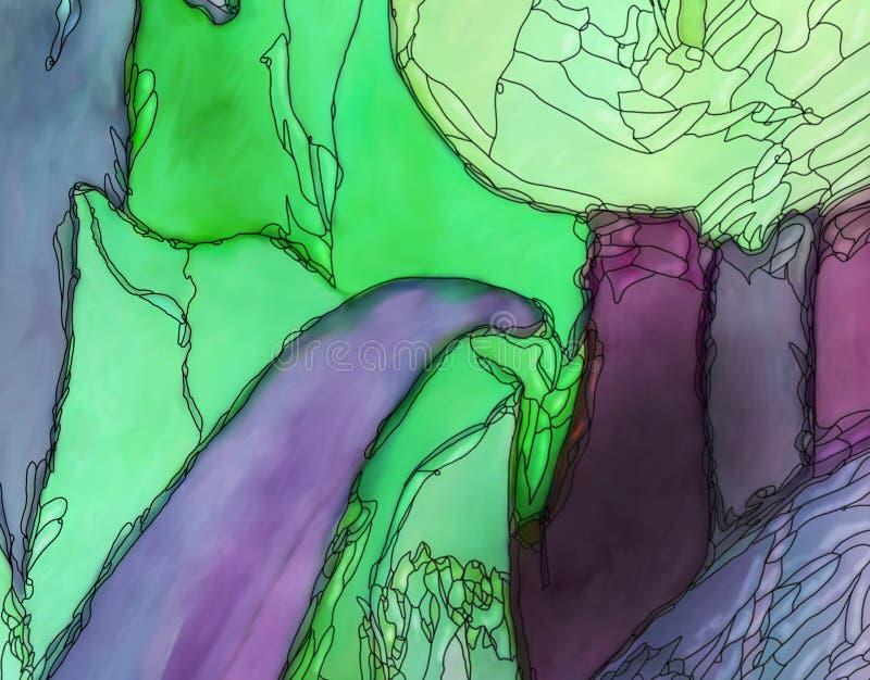 Konturn-Jugendstilart des abstrakten Tulpengrafikgrüns purpurrote schwarze lizenzfreie abbildung