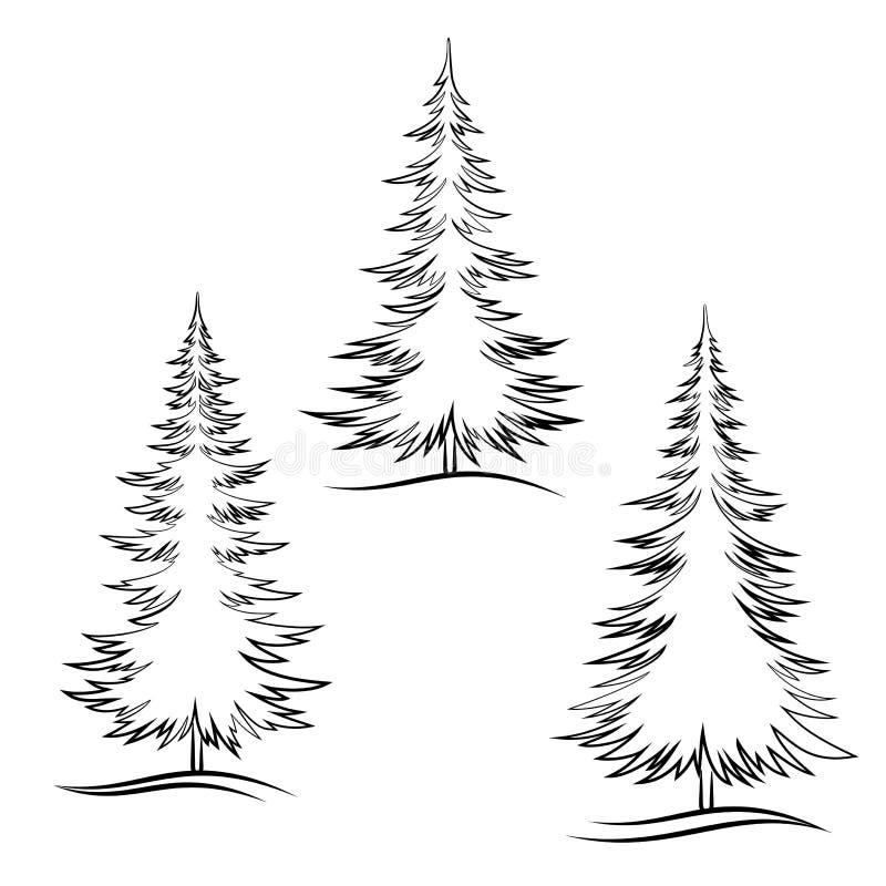 Konturn-Weihnachtsbäume vektor abbildung