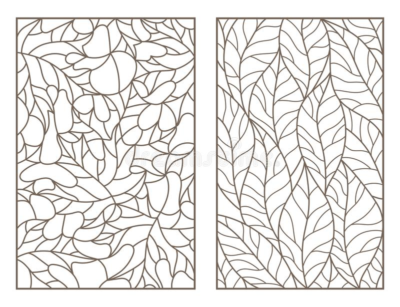 Konturnsatz mit Illustrationen des Buntglases Windows mit Blättern von verschiedenen Bäumen, dunkle Entwürfe auf hellem Hintergru lizenzfreie abbildung