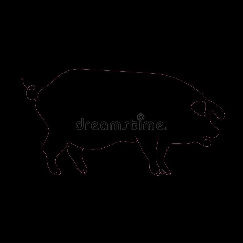 Konturnschwarzes und rosa Schwein Einfaches Logoferkel Auch im corel abgehobenen Betrag stock abbildung