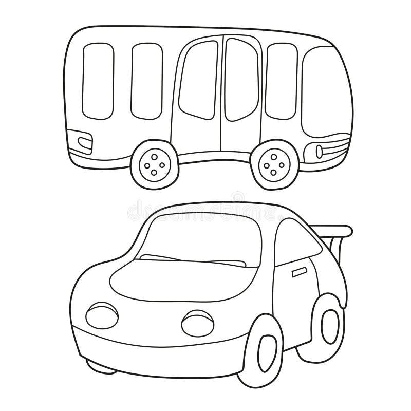 Konturnschwarzweiss-Karikatur des Busses und des Autos Malbuch für Kinder lizenzfreie abbildung