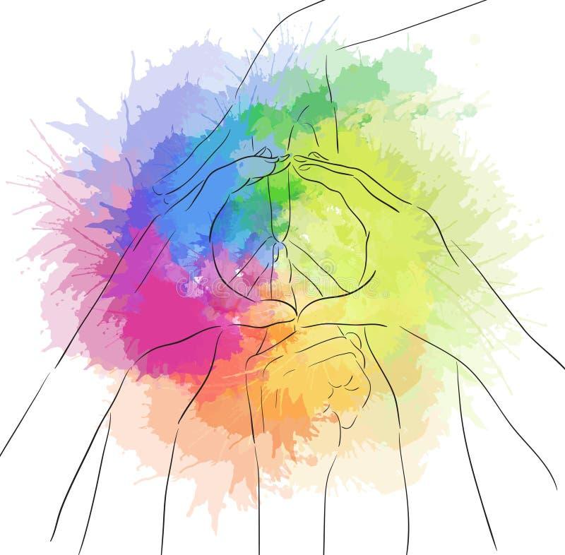 Konturowa ilustracja istot ludzkich ręki i znak pokój ilustracja wektor