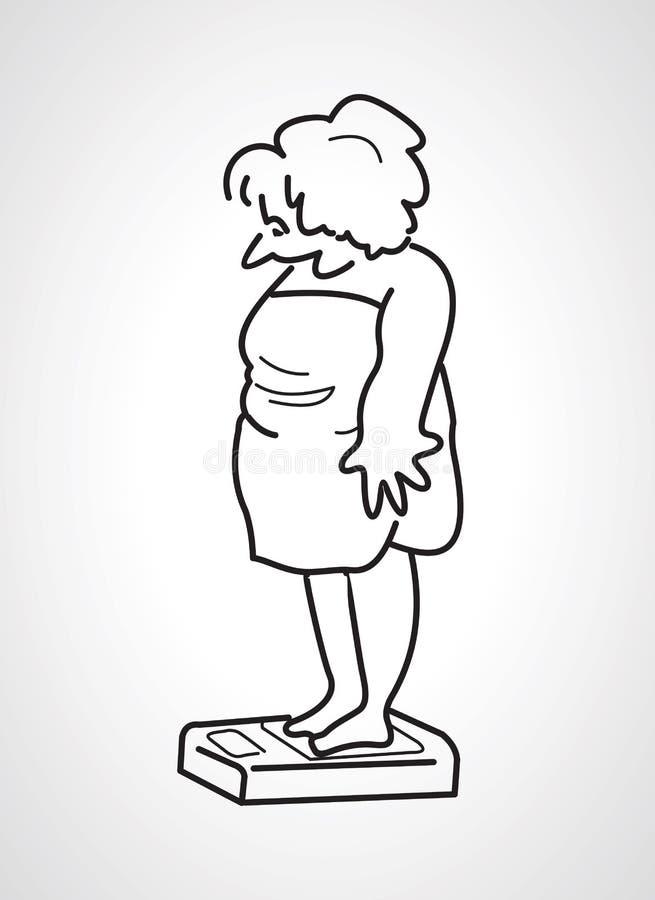 Konturowa rysunkowa pełna gruba kobiety pozycja na waży t i chce ilustracja wektor