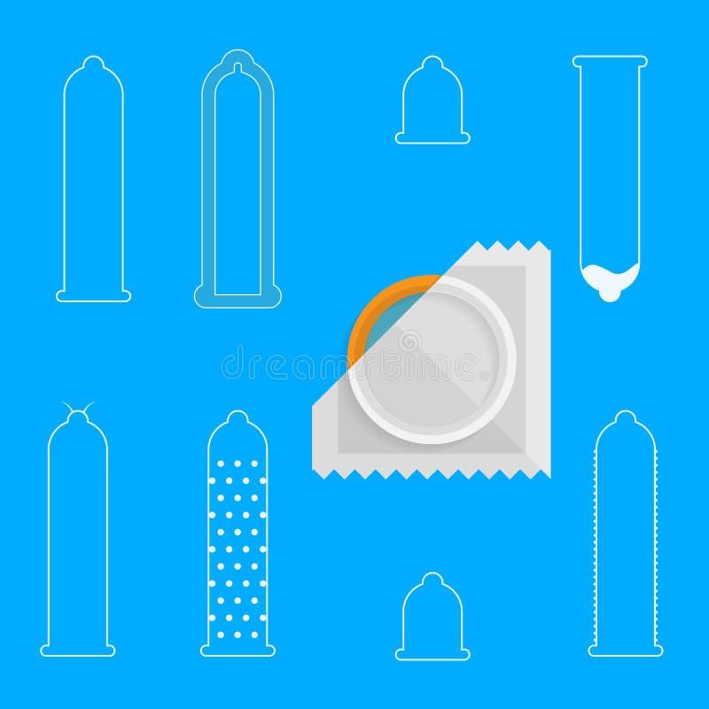 Konturowe ikony dla kondomów royalty ilustracja