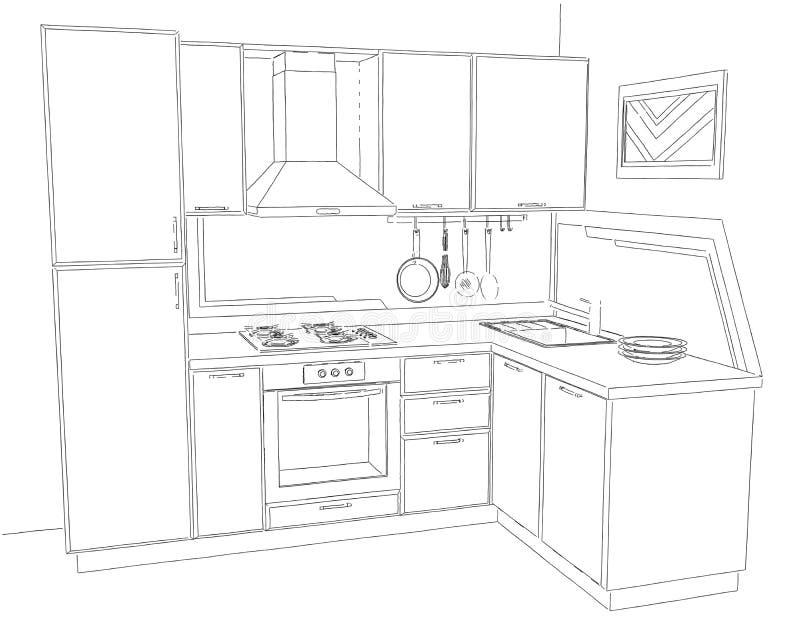 Konturowego nakreślenia trójwymiarowa ilustracja nowożytny narożnikowy kuchenny wewnętrzny czarny i biały ilustracja wektor