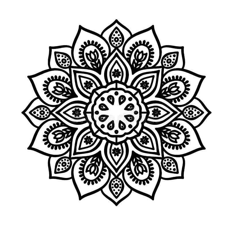 Konturowej linii mandala - nakreślenie tatuaż royalty ilustracja