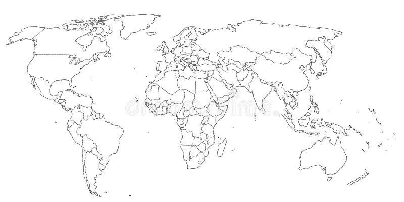 Konturowi światowej mapy czarny i biały kolory ilustracji