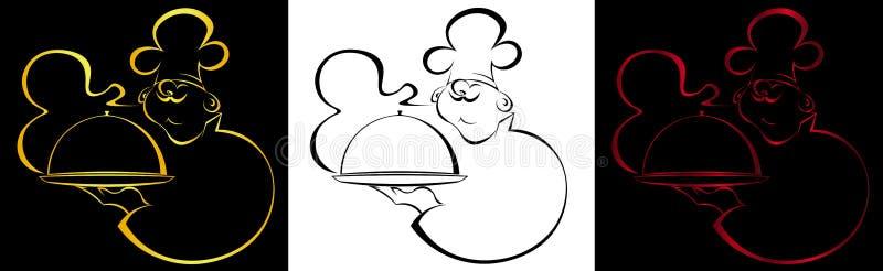 Konturowy kucharz z naczynie odoru logem ilustracji