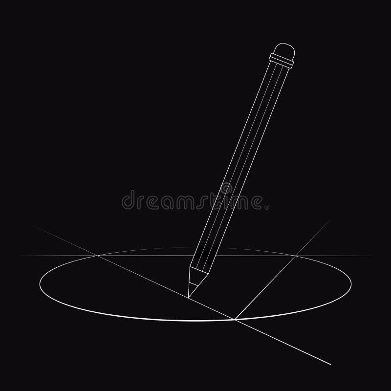 Konturowy rysunek, ołówkowego rysunku okrąg ilustracja wektor