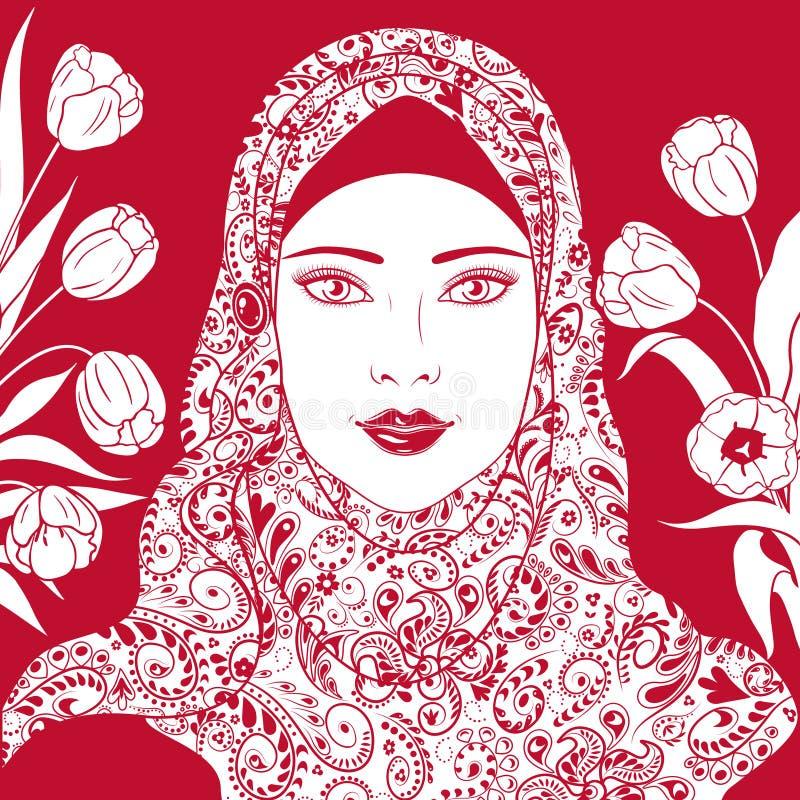 Konturowy wizerunek Muzułmańska dziewczyna w hijab ilustracji