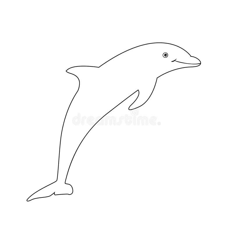 Konturowy wizerunek odizolowywający na białym tle delfin ilustracja wektor