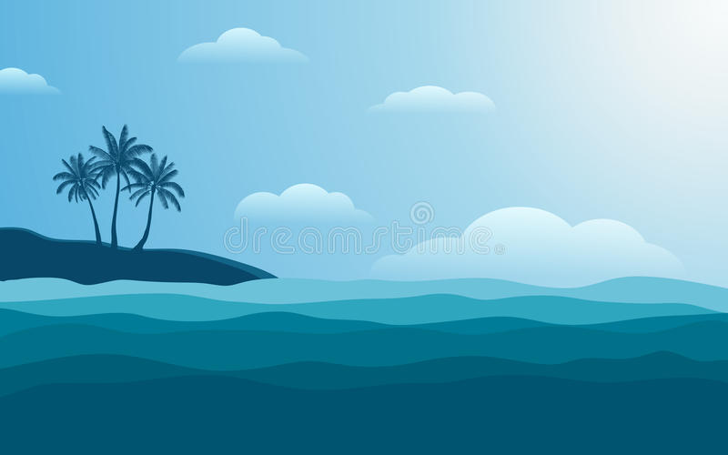 Konturpalmträd på kust på middagen med blåttfärghimmel i plan symbolsdesignbakgrund royaltyfri illustrationer