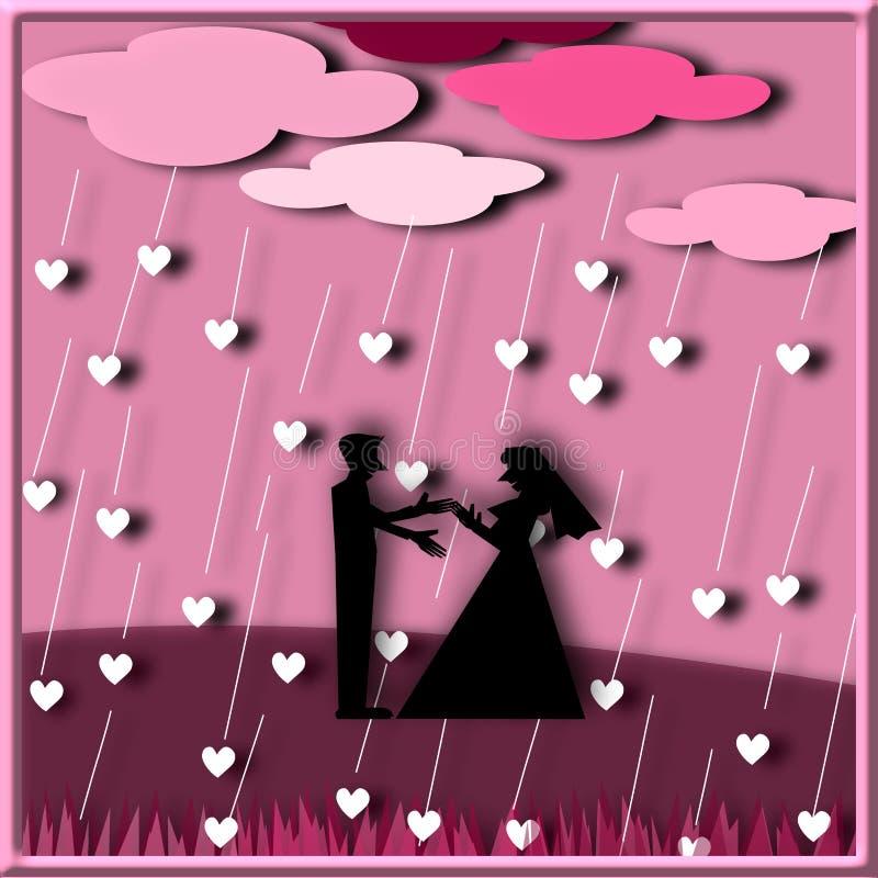 Konturpar älskar anseende under regnhjärtan stock illustrationer