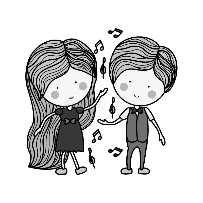 Konturpardans med musikaliska anmärkningar vektor illustrationer