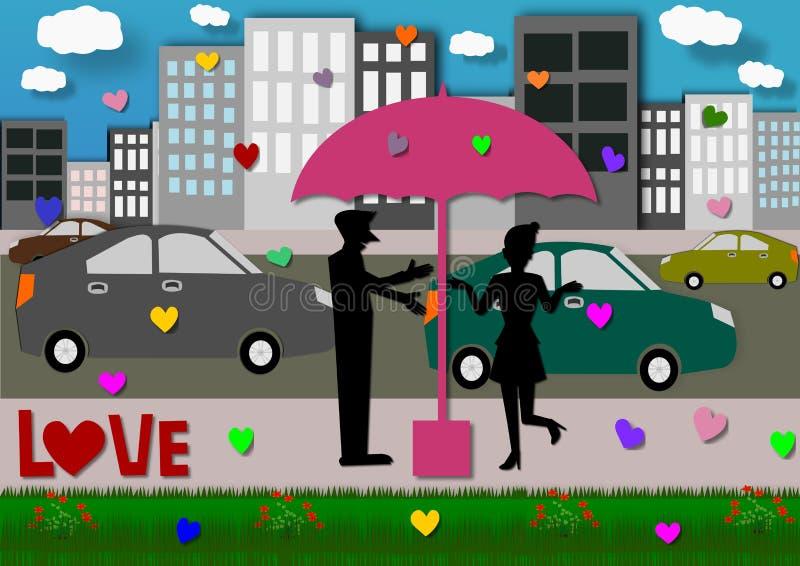 Konturparförälskelse i paraply i staden royaltyfri illustrationer