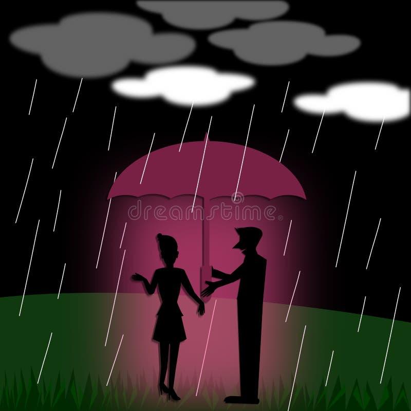Konturparförälskelse med paraplyanseende under regnet royaltyfri illustrationer
