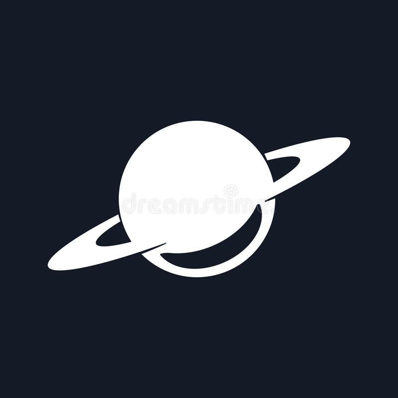 Konturplanet Saturn på svart vektor illustrationer