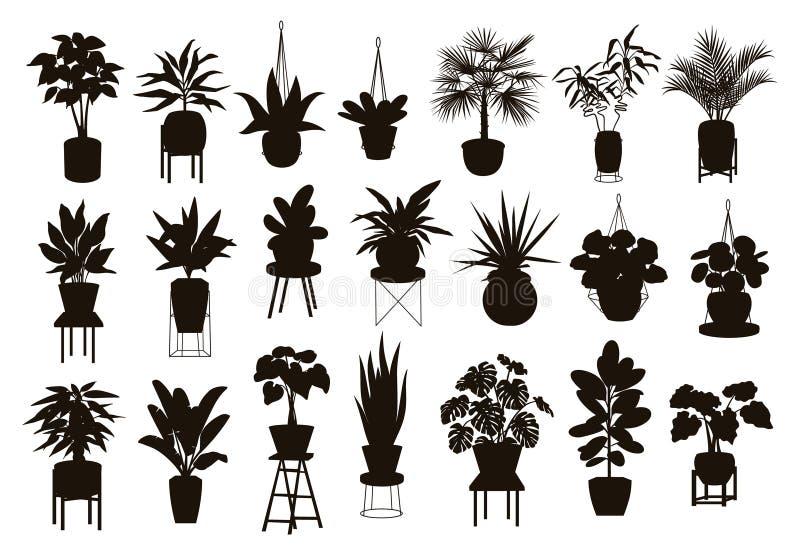 Kontursamling av inomhus trädgårds- växter för dekorhus i krukor och ställningar stock illustrationer
