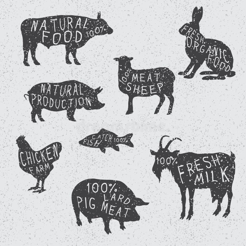 Kontursamling av lantgårddjuren royaltyfri illustrationer