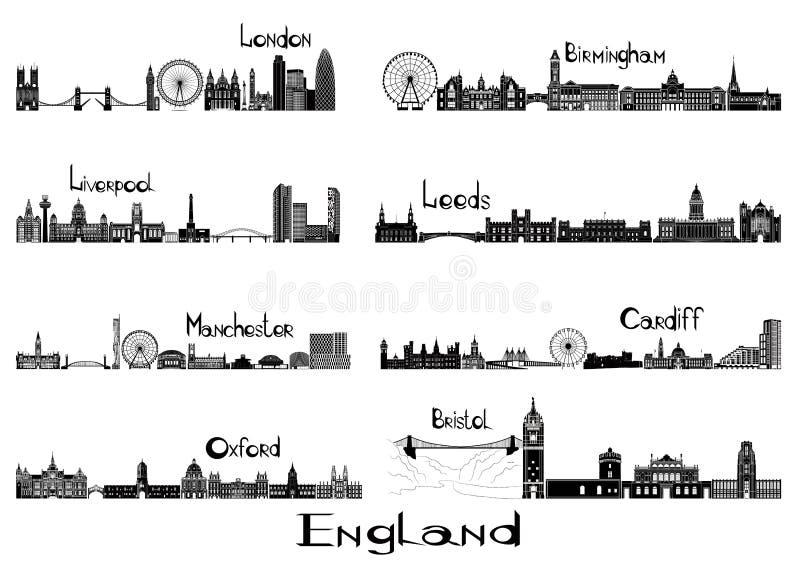 Kontursignts av 8 städer av England stock illustrationer