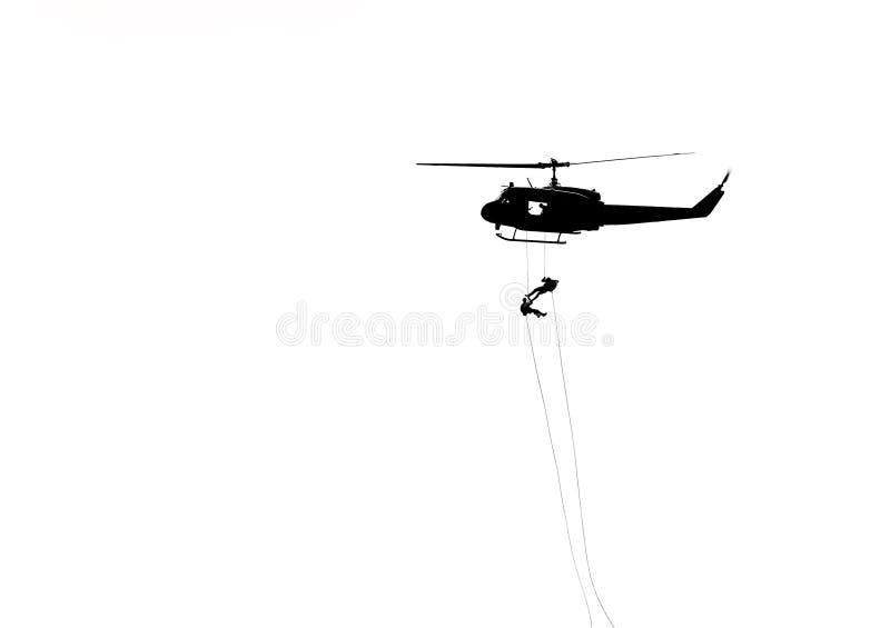 Kontursoldater i handling som rappelling, klättrar ner från helikoptern med för räknareterrorism för militär beskickning utbildni arkivfoton