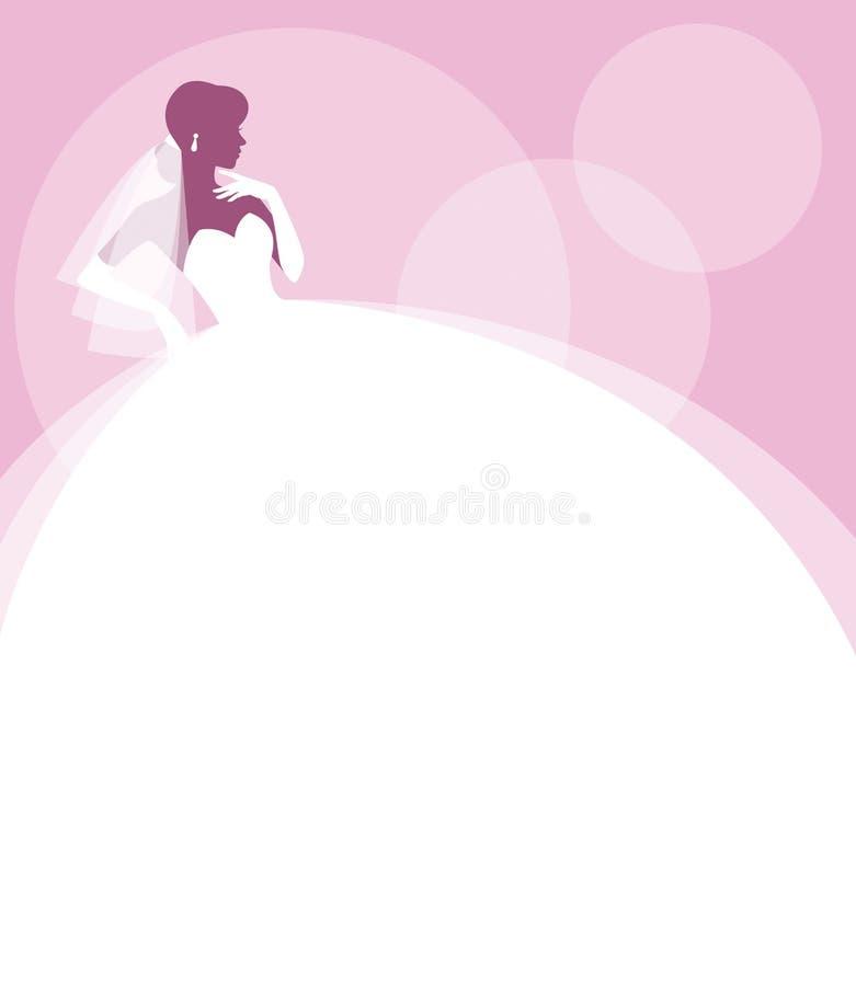 Konturstående av en brud i profil i en bröllopsklänning och att skyla royaltyfri illustrationer